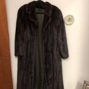 Authentic Vintage Brown Mink Fur Coat Women's